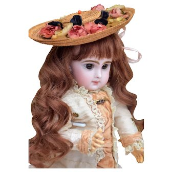 """12"""" Childlike Tete Jumeau 3 with Gorgeous Dress and Antique Hat"""