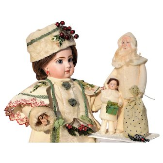 Wonderful Old World Santa and Child  - Shabby Chic - All White and Glitter