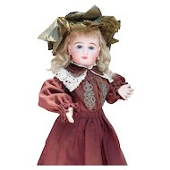 """Fabulous Antique, Early 3-Piece All-Original Costume includes Dress, Coat and Wired Hat for 20-22"""" Doll"""