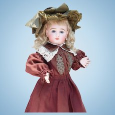"Fabulous Antique, Early 3-Piece All-Original Costume includes Dress, Coat and Wired Hat for 20-22"" Doll"