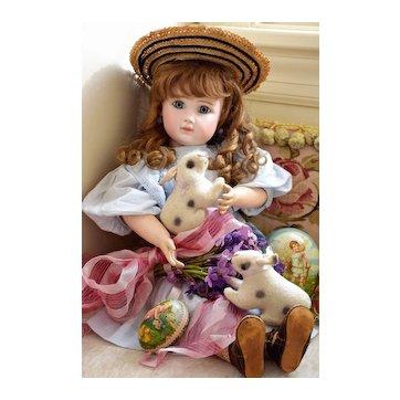 Wonderful EARLY Velveteen Rabbit - Wool Flannel Bunny, Circa 1800's