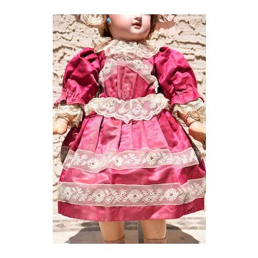 """Authentic Antique Raspberry-Colored Silk Dress for an 18""""-19"""" Doll - SO YUMMY!"""