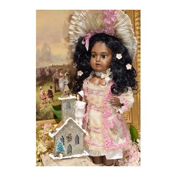 Glitter Church Christmas Decoration with Cotton-Batting Doll