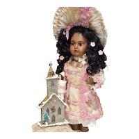 Christmas Glitter Church Decoration with Cotton-Batting Doll