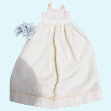Antique Wool Slip for baby doll with PINK feather-stitching