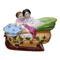 """""""The Youngest Brother"""" Porcelain Decorative Sleigh Box from the 1800's"""