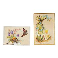 """Two Trading Advertising Cards """"Cross & Butterfly"""" for Day's Soap"""