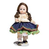 Alexander-kin Bolivia Girl, Bent-knee Walker 1960's - Madame Alexander Doll with Stand
