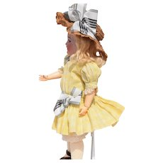 """Antique Yellow Windowpane Dress and Straw Hat for 16"""" doll"""