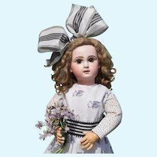 """Cutest 22"""" Depose Tete Jumeau ALL-ANTIQUE with Kitty Pinafore!"""