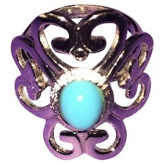 Vintage Silvertone Signed Sarah Coventry Costume Ring with Blue Bead Center Stone