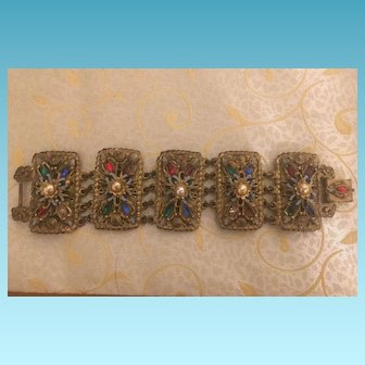 Vintage Hand Made Brass Art Deco Style Bracelet with Beads and Crystals Circa 1940