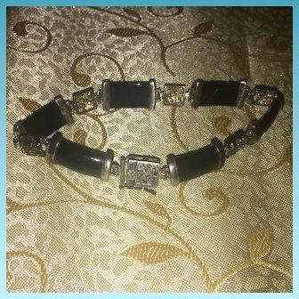 Vintage Oriental Bracelet Carved Sterling 925/1000 Silver & Black Onyx