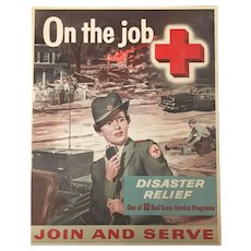 Vintage Rare Signed Red Cross Lithograph Poster Korea War Campaign 1956