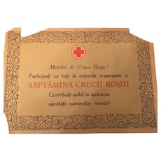 Romanian World War II Red Cross Chapter Certificate Circa 1940's