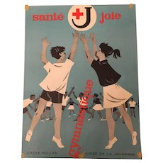 Vintage Rare Swiss Red Cross Gymnastics Campaign Advertising Poster