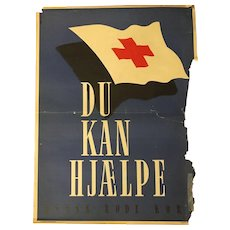Post World War II Danish Red Cross Campaign Poster By Aarhus Bogtrykkeri Circa 1950's