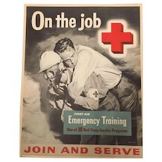 Vintage Signed Red Cross Emergency Training Campaign Poster Circa 1955