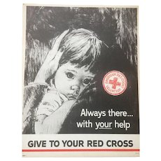 """Vintage Red Cross Campaign Poster """"Always There with Your help"""" Circa 1963"""