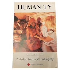 Vintage Red Cross Campaign Banner Humanity -Protecting Human Life & Dignity C.1990
