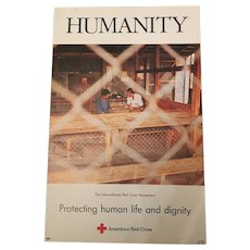 Vintage Red Cross Banner Humanity -Protecting Human Life & Dignity C.1990