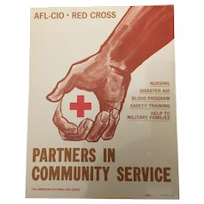 Vintage AFL-CIO Red Cross Banner Nursing & Disaster Aid Circa 1978