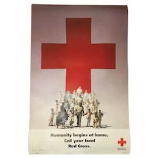 Vintage Large Red Cross Campaign Banner Circa 1987