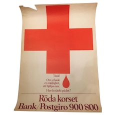 Vintage Rare Swedish Red Cross Campaign Banner Circa 1968