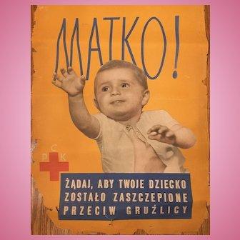 Vintage Yugoslavian Red Cross Banner Advertisement Seeking Matko Child of Holocaust C. 1944