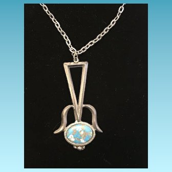 Vintage SouthWestern Pewter Chain & Pendant with Enamel Hand Painted Design Circa 1940's