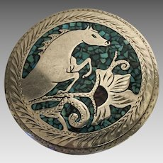 Vintage Western Silvertone Carved Belt Buckle with Turquoise Micro Mosaic Mustang Display C.1950's