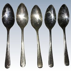 Vintage Sheffield England Silverplated Set of Grapefruit Service Spoons Circa 1940's