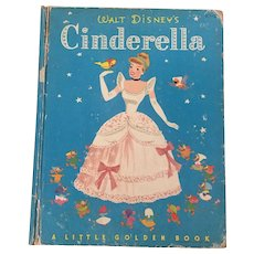 Vintage Hard Cover Little golden Book Cinderella By Walt Disney Copyright 1950