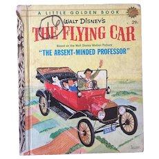 """Vintage Hard Cover Little Golden Book Walt Disney's """"The Flying Car"""" Copyright 1961"""