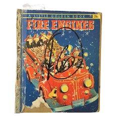 "Vintage Hard Cover Little Golden Book ""Fire Engines"" Copyright 1959"