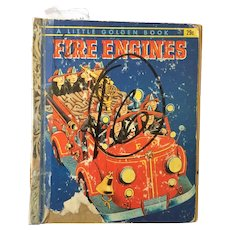 "Vintage Hard Cover Little Golden Book ""Fire Engines"" Copyright 1959"
