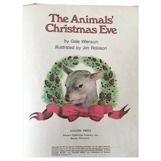 """Vintage Hard Cover Little Golden Book """"The Animals Christmas Eve"""" By Gale Wiersum Copyright 1977"""