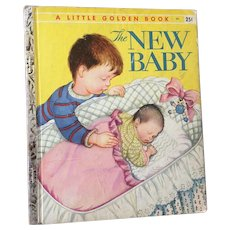 "Vintage Hard Cover Little Golden Book ""The New Baby"" Copyright 1959"