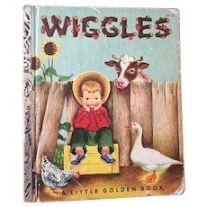 """Vintage Hard Cover Little Golden Book """"Wiggles"""" Copyright 1959"""