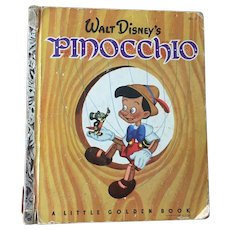 "Vintage Hard Cover Little Golden Book Walt Disney's "" Pinocchio"" By Collodi Copyright 1948"
