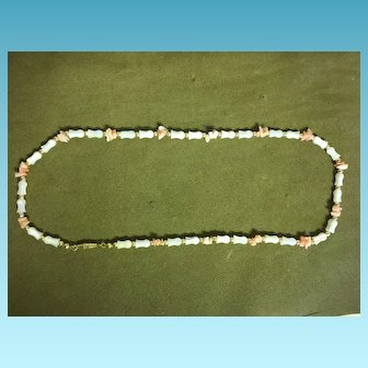 Vintage Caribbean Costume Coral and Gold Filled Beaded Necklace C. 1970's