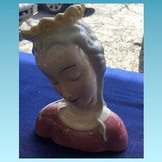 Vintage American Art Deco Style Hand Painted Crowned Maiden Vanity Figure Circa 1930's