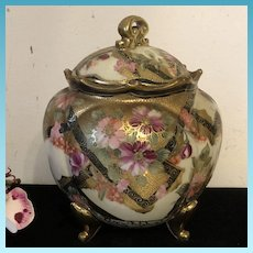 Antique Hand Painted Footed Nippon Moriage Covered Biscuit/ Ginger Jar Circa 1895
