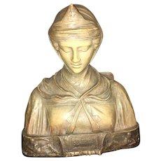 19th Century Italian Florentine  Folk Art  Mantle Statue of Beatrice Signed by Artist