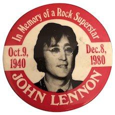 "Vintage Beatles Memorabilia ""John Lennon"" Memorial Commemorative Pin C. 1980"