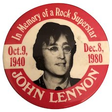 "Vintage Beatles Memorabilia ""John Lennon"" Memorial Commemorative Pin C. 1980"