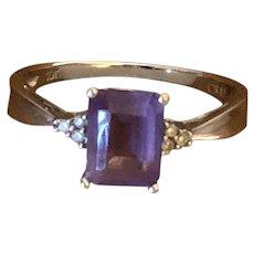 Elegant 10 Karat White Gold Ladies Ring enhanced with Amethyst  Stone and Marquesites