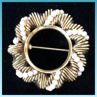 Costume Carved Goldtone Oval Brooch Pin  with White Bead Strands C. 1960's