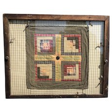 Early American Country Antique Wood Framed Amish Hand Made Multicolored Quilt Circa 1850's