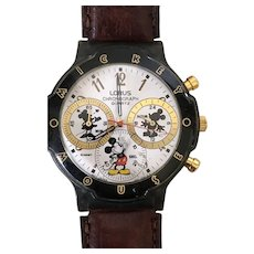 Vintage Lorus Seiko Mickey Mouse Chronograph Disney Watch With Leather Band C. 1990